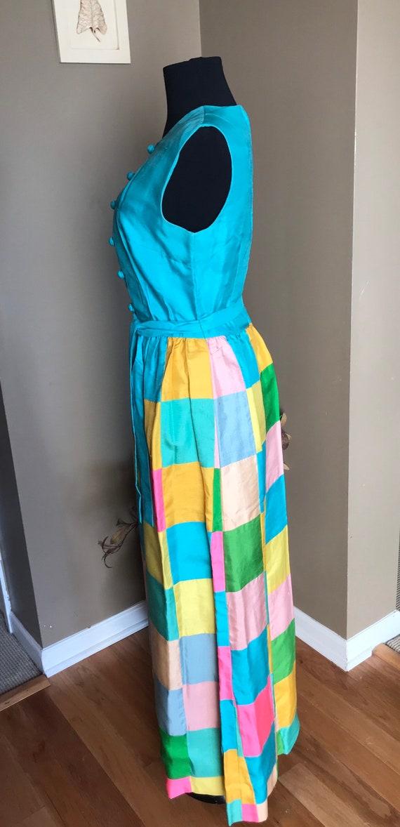 60's Keram New York Raw Silk Patchwork Maxi Dress… - image 5