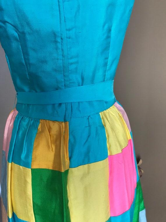 60's Keram New York Raw Silk Patchwork Maxi Dress… - image 6