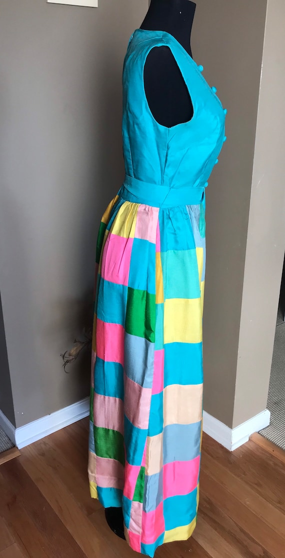 60's Keram New York Raw Silk Patchwork Maxi Dress… - image 3