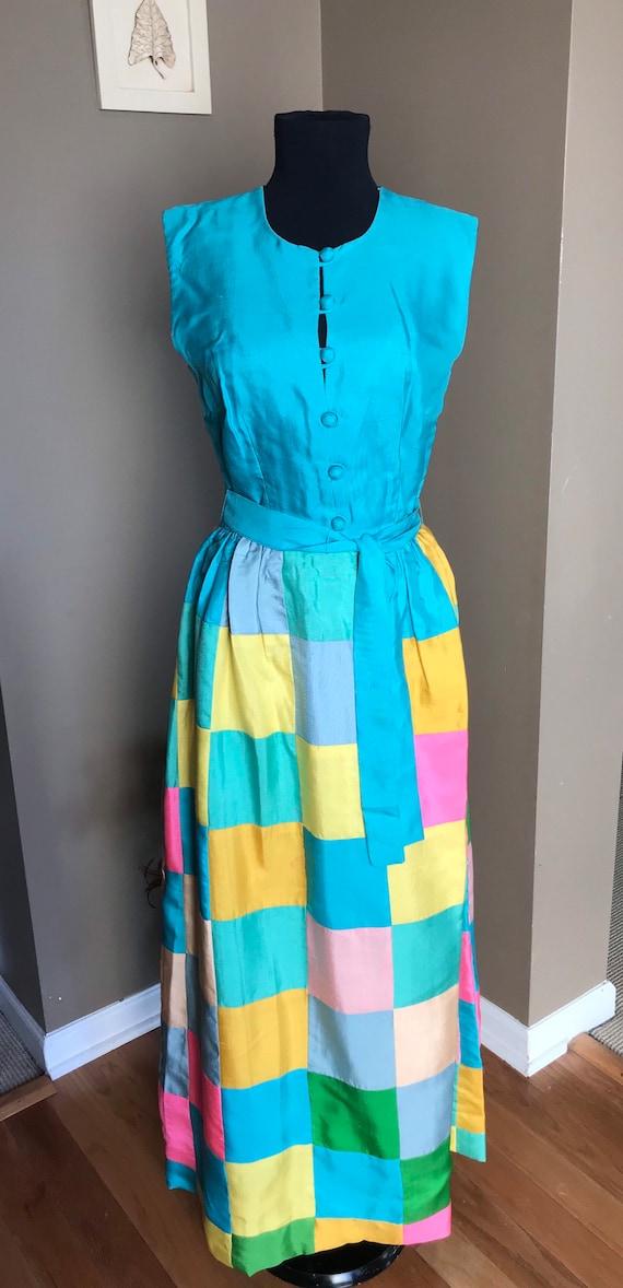 60's Keram New York Raw Silk Patchwork Maxi Dress… - image 1