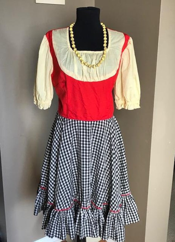 50s Red Yellow and Blue Gingham Rockabilly Swing D