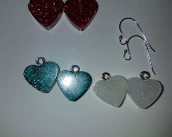 Heart shaped resin earrings Stirling Silver findings