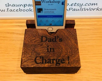 Wooden Phone stand, Docking station, Phone holder, Phone stand, Wooden phone holder, Personalised gift, Fathers day gift, Dad gift