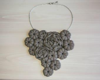Gray Statement Bib Necklace Linen necklace Fabric Necklace Fabric Jewelry Textile Necklace Rosette Statement Necklace Wedding Necklace