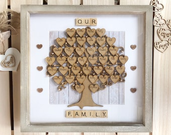 Large Engraved Family Tree Golden Wedding Anniversary Gift For Grandparents 80th Birthday 60th Fit Up To 40 Names Parents