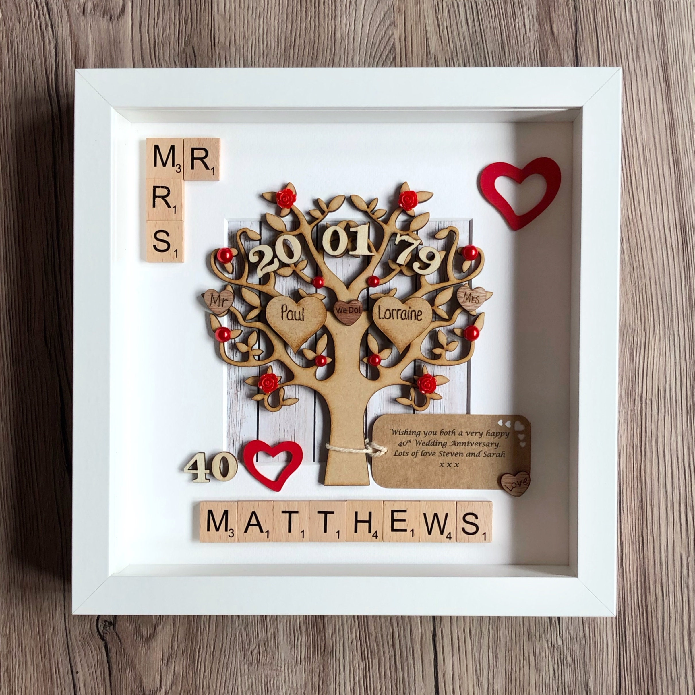 Gift For Ruby Wedding Anniversary: Ruby Wedding Anniversary Gift. Personalised 40th