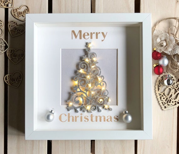 Christmas Light Up Box Frame Decoration Christmas Decoration Etsy