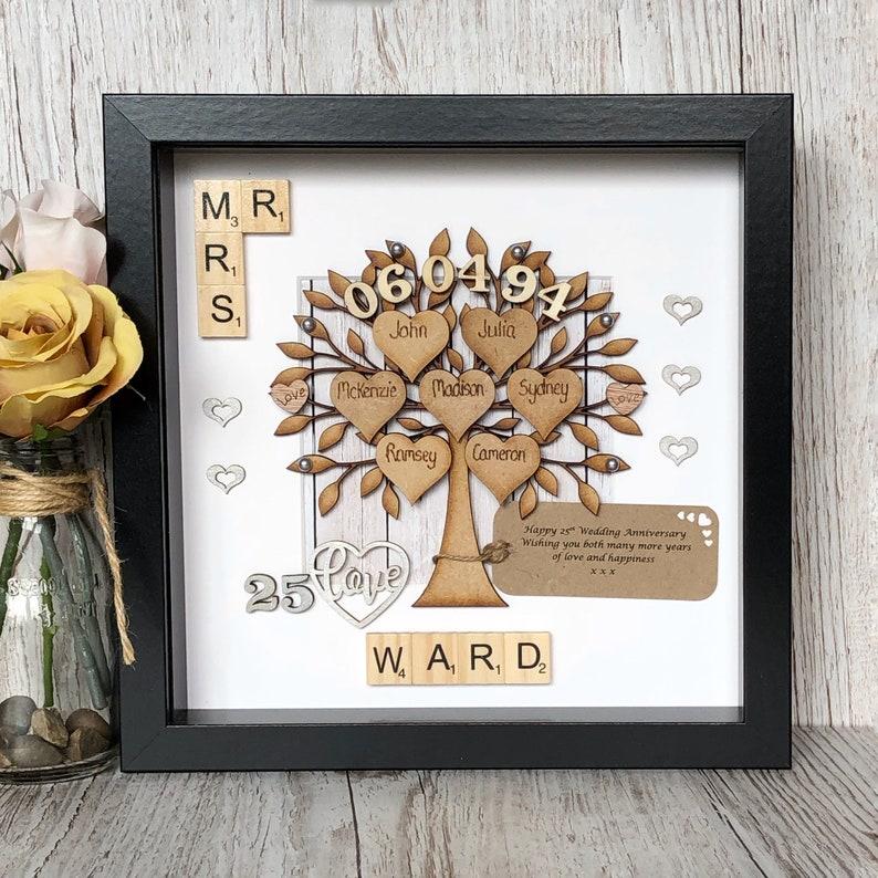 25th Wedding Anniversary Gifts.Silver Wedding Anniversary Gift And Family Tree 25th Wedding Anniversary Family Tree Parents Anniversary Gift Scrabble Wall Art