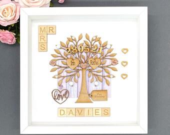 Wedding Gift. Unique Wedding Gift For Couples. Engraved Names. Mr & Mrs Wedding Anniversary Gift. Handmade Keepsake