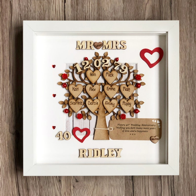 image 0 & Wedding Anniversary Gift And Family Tree. Ruby Wedding. 40th | Etsy