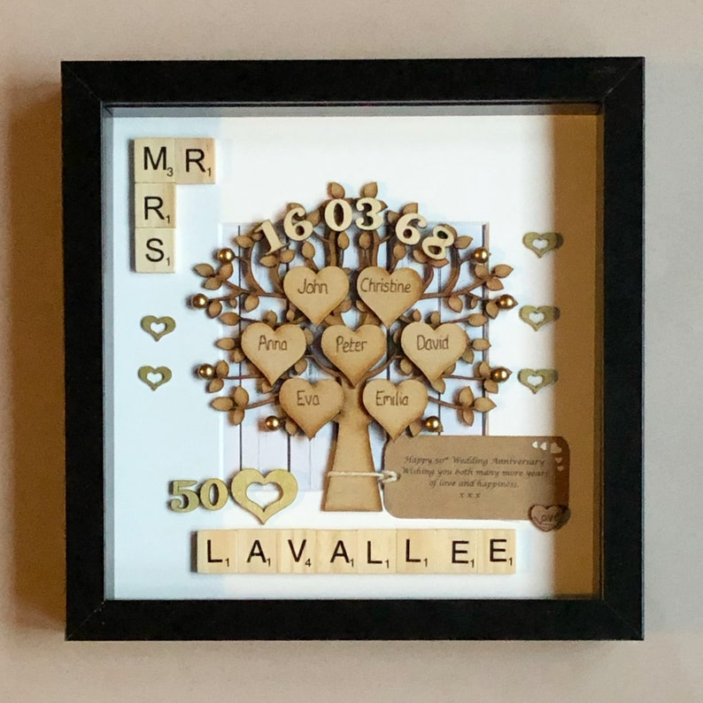 Golden Wedding Anniversary Gift And Family Tree 50th Wedding Etsy
