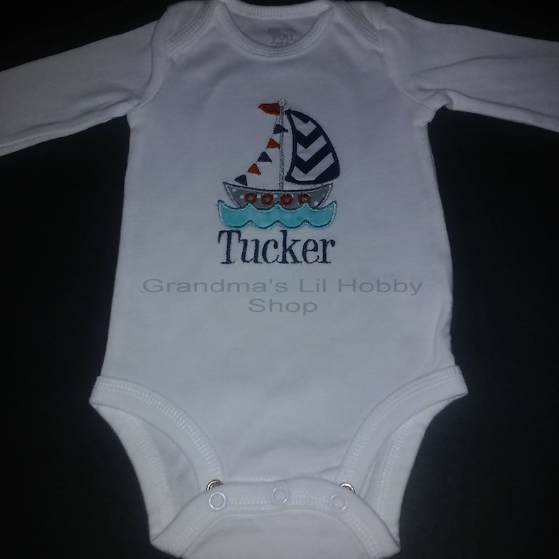 f87e99ca Personalized Little Boy Sailboat Onesie or T-shirt | Etsy