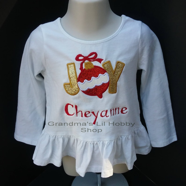 bba75be8 Personalized Girl's Christmas JOY Onesie or T-shirt Long | Etsy