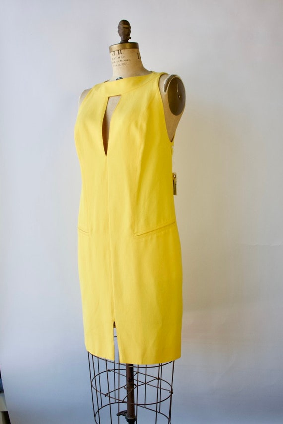 1980s Modernist Dress by Montana Bright Yellow Si… - image 1