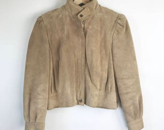 80s Tan Suede Cropped Leather Jacket / Heavyweight beige  lined suede jacket / Vintage beige leather jacket