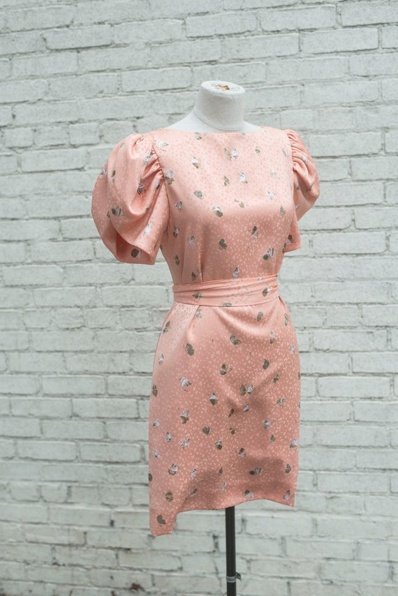 Vintage 1980s Dress / Balloon Sleeve Dress / Size