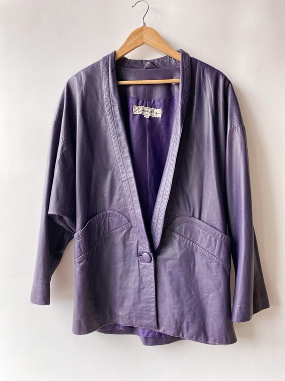 80s Lillie Rubin Oversized Eggplant Leather Blazer