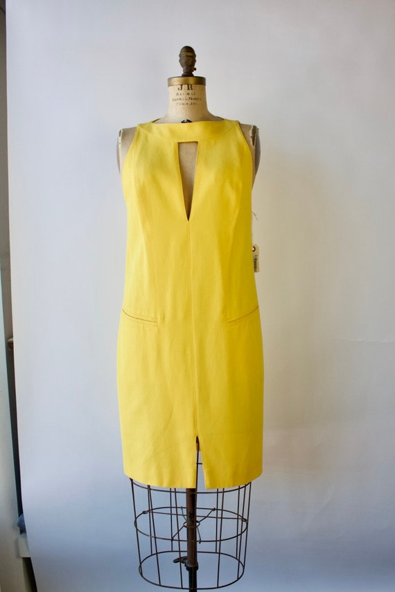 1980s Modernist Dress by Montana Bright Yellow Si… - image 5
