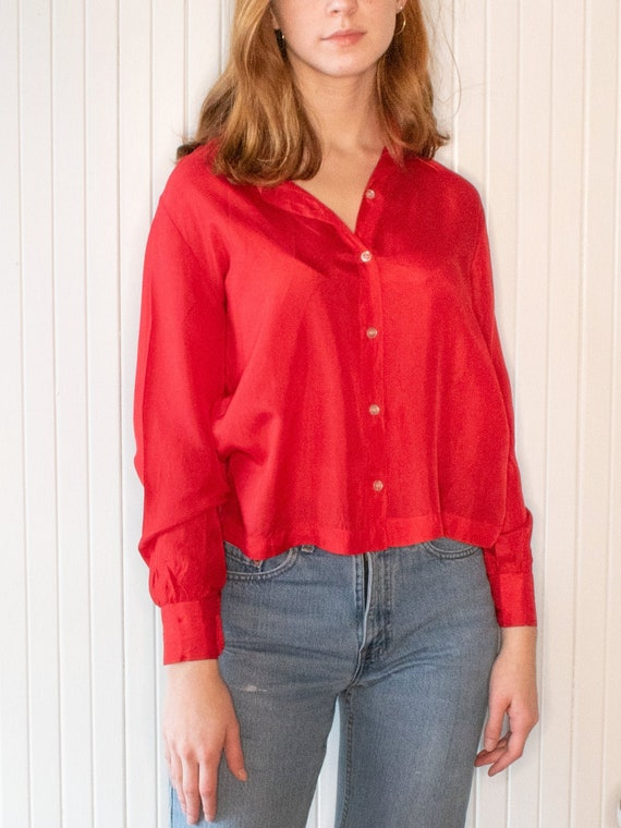 Vintage Lanvin Silk Red Long Sleeve Blouse Size Sm