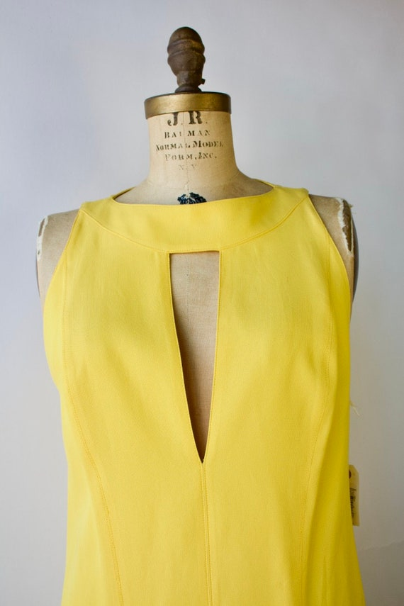 1980s Modernist Dress by Montana Bright Yellow Si… - image 2