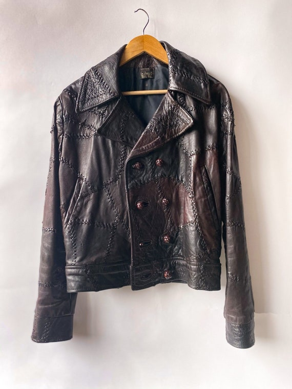 1970s Burgundy Pieced Leather Jacket M