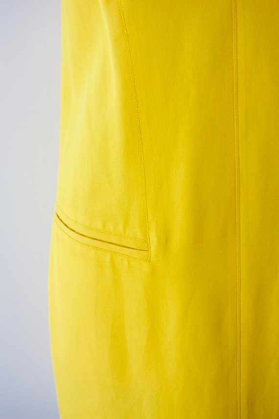 1980s Modernist Dress by Montana Bright Yellow Si… - image 3