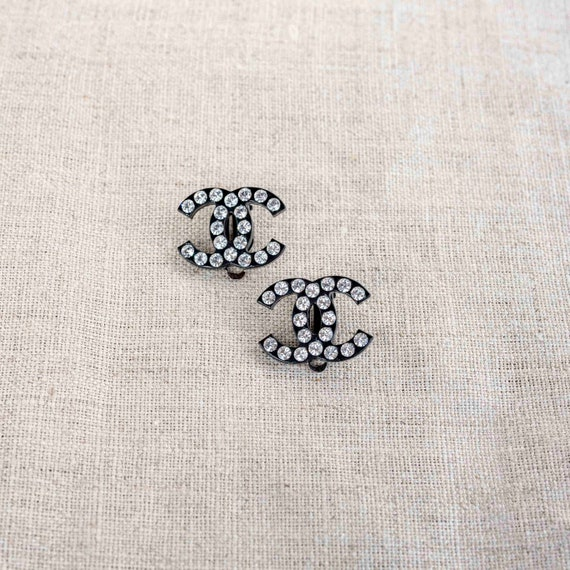 Vintage Chanel Clip On Earrings Black / Rhinestone