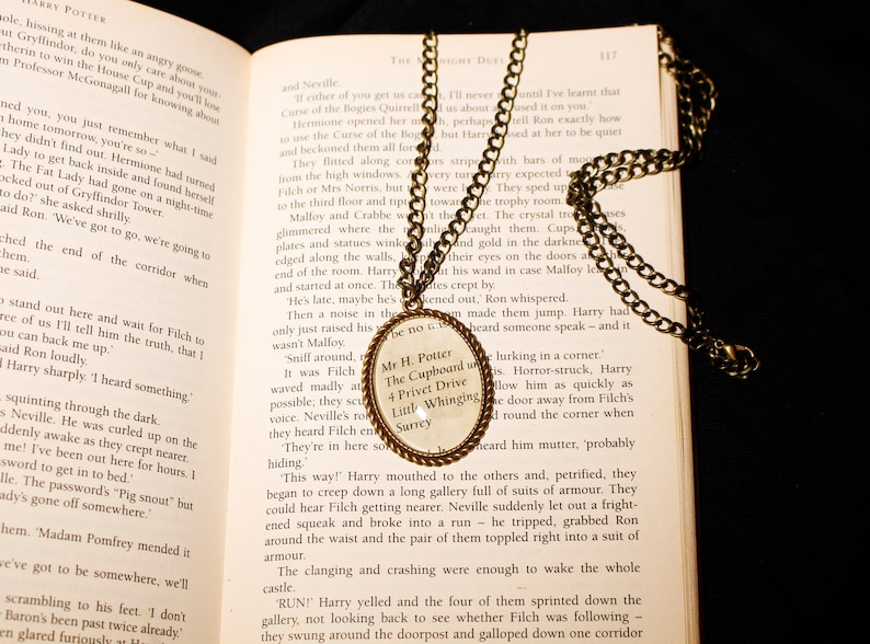 Harry Potter Cameo Pendant Necklace Cabochon Ink Paper Book Fantasy Jewellery Jewelry
