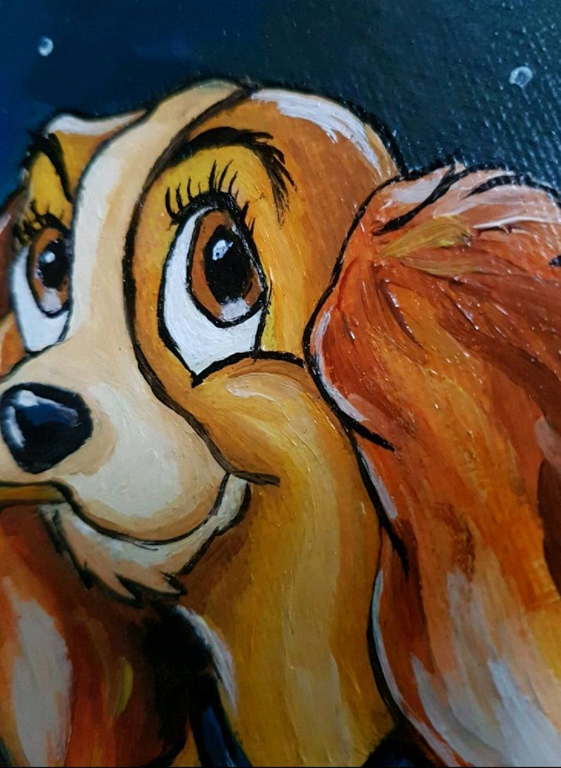 Lady And The Tramp Acrylic On Canvas Etsy