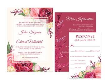 Elegant Marsala Wedding Invitations, Printed Floral Invitation Suite, Watercolor Roses in Pink, Scarlet, Burgundy, Cream
