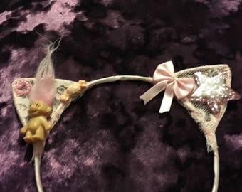 Pink lolita cat ears hairbanr