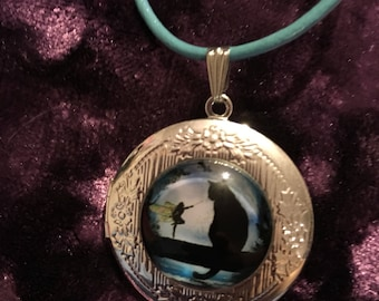 Fairy and cat locket necklace