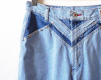 58d973dbe1c Waist 27 Rockies Vintage 1980s Striped Blue White 80s Long High waisted  High rise Mom jeans Iconic Straight leg Statement