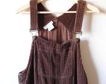 c6a9609e66 Size M Corduroy Jumper Dress Vintage 1990s 90s Brown Wide Wale Cord Overalls  Mid Length Cord Dress Classic Coveralls Classic