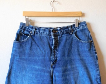 db7e218ad12 Waist 33 Lands End Jeans Vintage 1990s 90s Mom jeans High waisted High rise  Minimalist Denim Simple Relaxed fit Faded knees
