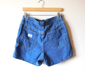 8a080e1f Waist 30 Lee Carpenter Denim Shorts Vintage 1990s 90s Riveted by Lee  Chambray Cotton Medium Dark wash Mom jeans High waisted High rise