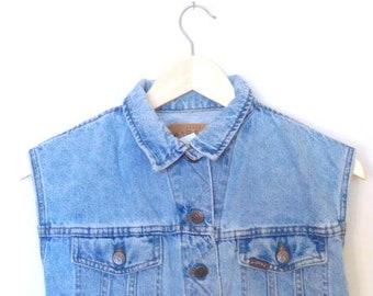 Vintage 1990s Riders Jean Jacket Size Medium Light wash Grunge 90s Jean Jacket 90s Jean Vest Distressed 90s Denim Riders Vest