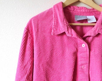de1cbe007b81 Size XL   XXL Hot Pink Wide Wale Corduroy Shirt Vintage 1990s 90s Oversized  Plus Size Pink Button Down Cord Classic Long Sleeve