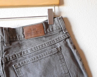 53d860c2 Waist 33 Lee Green Jeans Vintage 1990s 90s Mom jeans Gray Short Ankle High  waisted High rise Classic Iconic Denim Womens Lee's