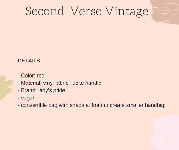 Lucite Handle Convertible Bag Vintage 1960s 60s C… - image 10