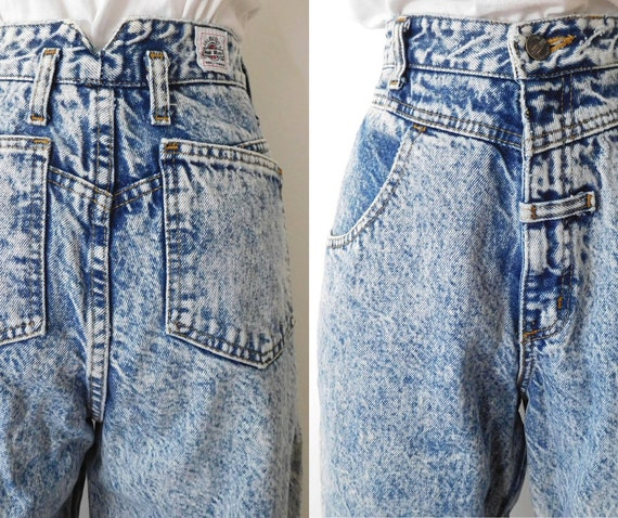 Waist 28 Acid Wash Denims Vintage 1980s 80s High w