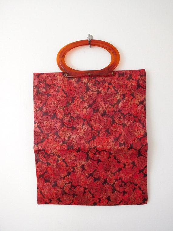 Lucite Handle Convertible Bag Vintage 1960s 60s C… - image 5