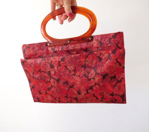 Lucite Handle Convertible Bag Vintage 1960s 60s C… - image 6