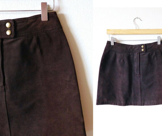 Waist 29  Wilsons Brown Leather Mini Skirt Vintage