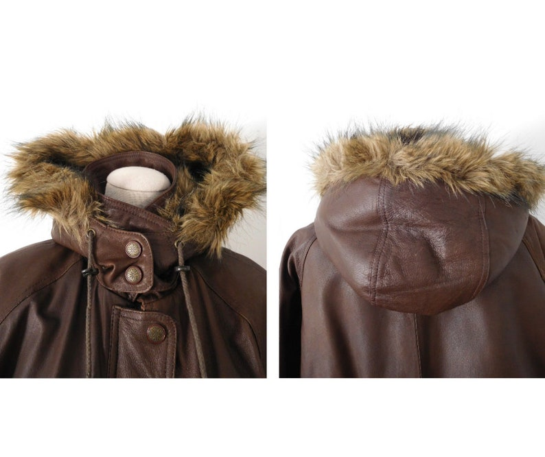 Size M Leather Parka Vintage 1980s 80s 1990s 90s Wilsons Leather Genuine Brown Faux Fur Hooded Cinch Waist Classic Iconic Coat