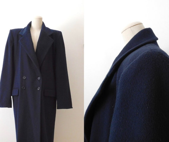 Size M Wool Double Breasted Overcoat Vintage 1980s