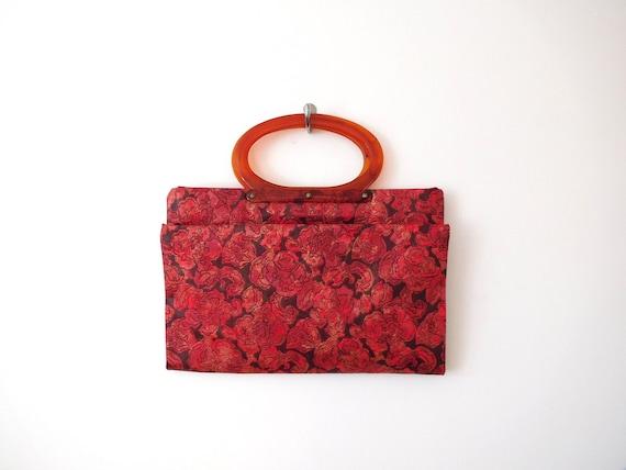 Lucite Handle Convertible Bag Vintage 1960s 60s C… - image 1