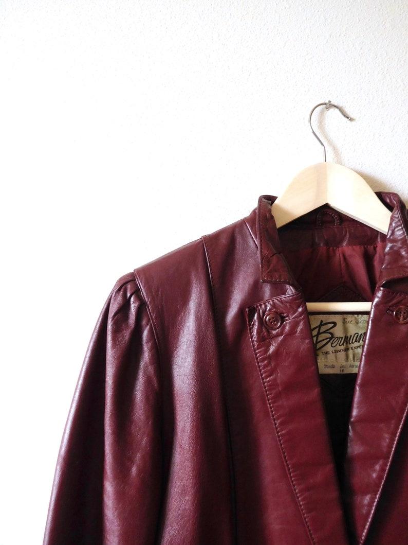 9888cff7e Size M Leather Jacket Vintage 1980s Berman Leather 80 coat Spring Fall  Winter jacket Leather blazer Ox Blood Maroon