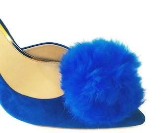 1d3ff48efa9f Blue Fur Pom Pom Shoe Clips