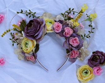 Rapunzel Inspired Floral Wire Mouse Ears, Floral Mouse Ears, Princess Ears, Flower Ears
